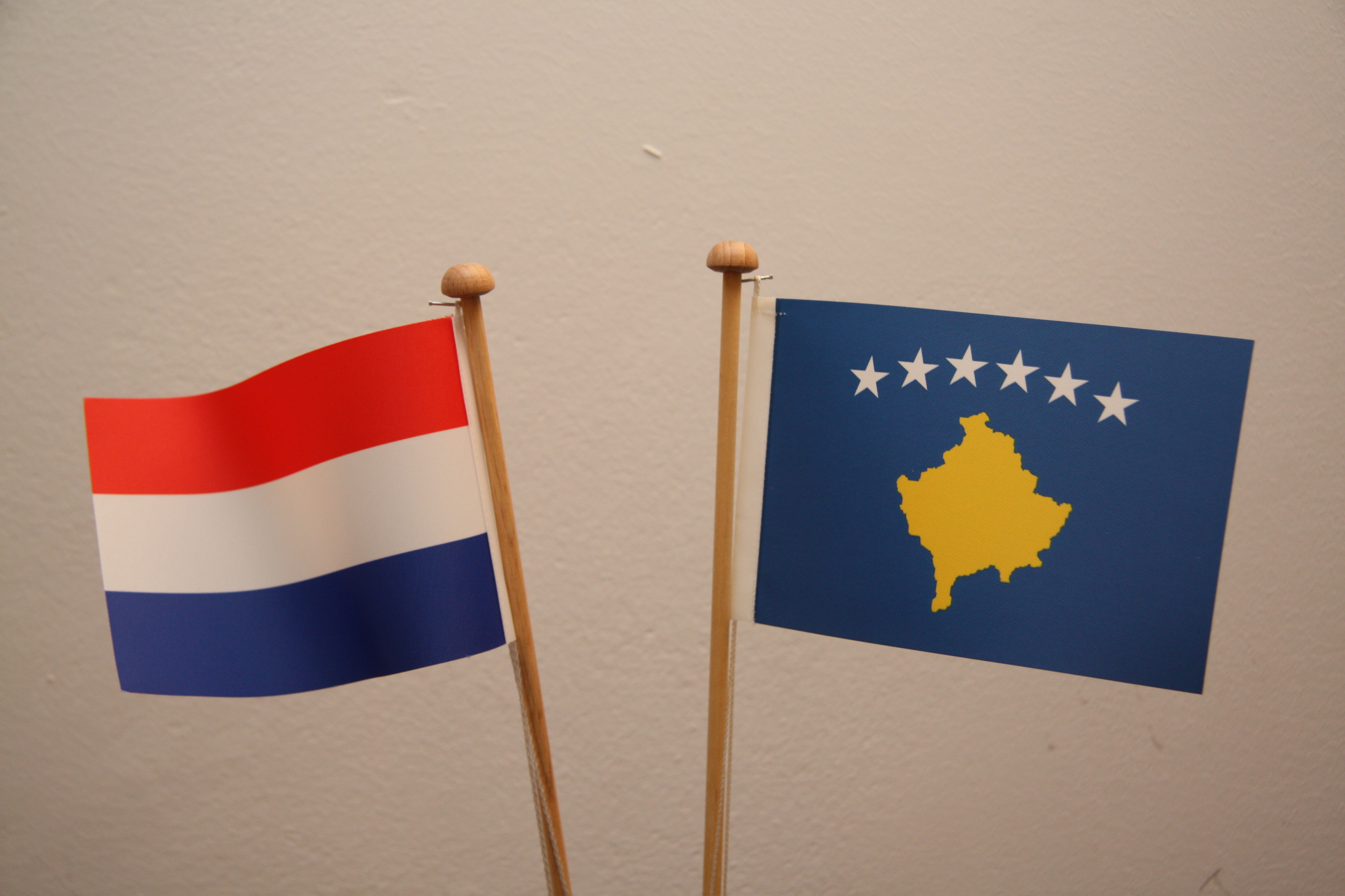 The flags of Kosovo and The Netherlands
